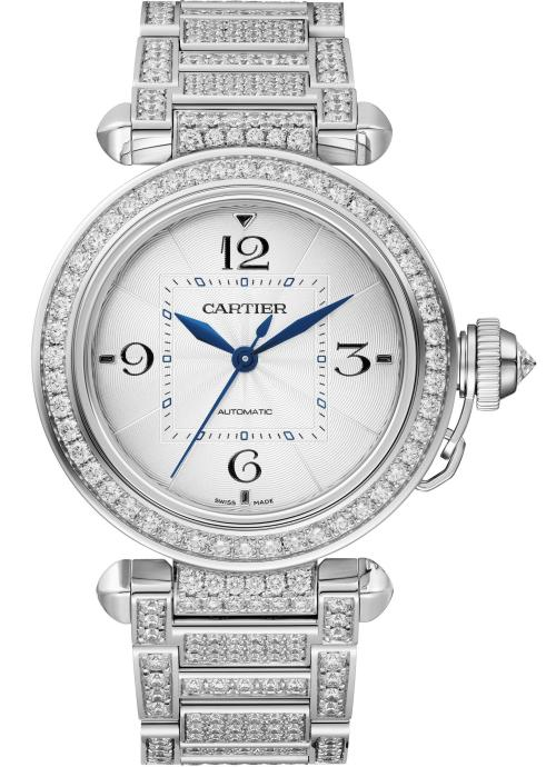 PASHA DE CARTIER WATCH: 35 mm, thickness: 9.37 mm; 18K white gold case; Crown set with a brilliant-cut diamond (0.27 ct); Case and bracelet set with 487 brilliant-cut diamonds (8.51 cts); Manufacture Mechanical Movement with Automatic Winding 1847 MC