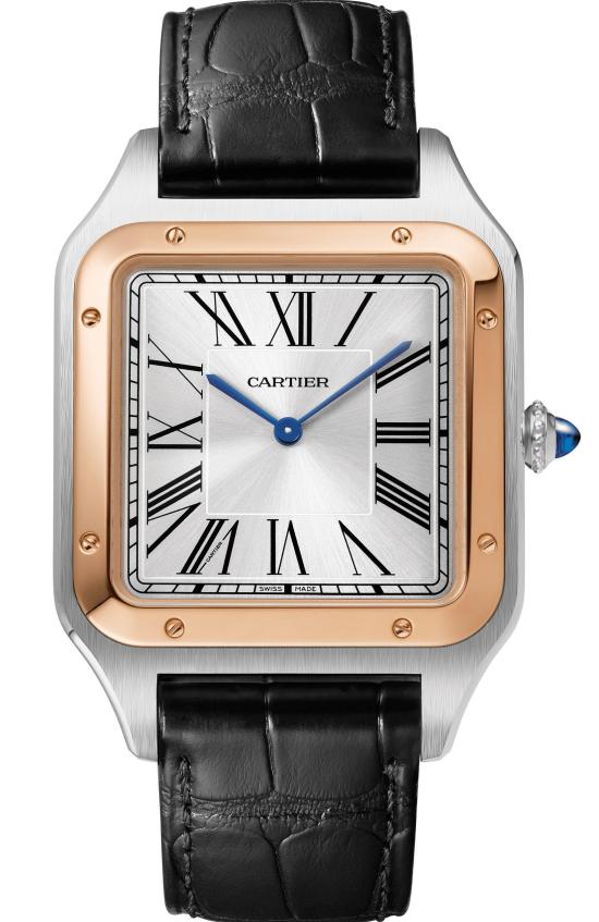 Santos-Dumont XL watch: Extra-large model, 46.6 x 33.9 mm, thickness: 7.5 mm; 18K pink gold and steel case; Crown set with a blue synthetic spinel cabochon; Black alligator leather strap