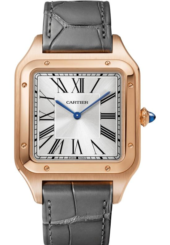 Santos-Dumont XL watch: Extra-large model, 46.6 x 33.9 mm, thickness: 7.5 mm; 18K pink gold case; Crown set with a sapphire cabochon; Grey alligator leather strap