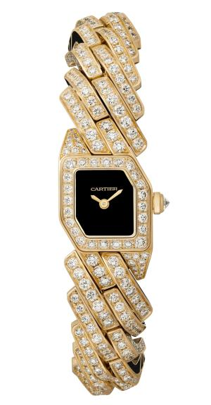 MAILLON DE CARTIER WATCH, 16 x 17 mm, thickness: 6.8 mm, 18K yellow gold, Crown set with a brilliant-cut diamond (0.07 ct), Case and bracelet set with 580 brilliant-cut diamonds (9.33 cts), Black lacquer dial, Quartz movement, Limited and numbered edition of 50 pieces