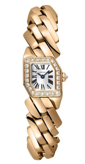 MAILLON DE CARTIER WATCH, 16 x 17 mm, thickness: 6.8 mm, 18K pink gold, Crown set with a brilliant-cut diamond (0.07 ct), Bezel set with 24 brilliant-cut diamonds (0.54 ct), Quartz movement