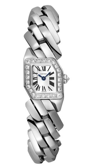 MAILLON DE CARTIER WATCH, 16 x 17 mm, thickness: 6.8 mm, 18K white gold, Crown set with a brilliant-cut diamond (0.07 ct), Bezel set with 24 brilliant-cut diamonds (0.54 ct), Quartz movement