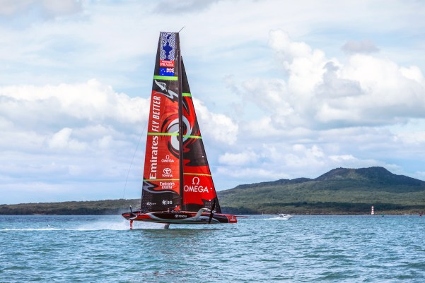Emirates Team New Zealand's AC75 'Te Aihe' on the Waitemata Harbour in Auckland, New Zealand, 36th America's Cup