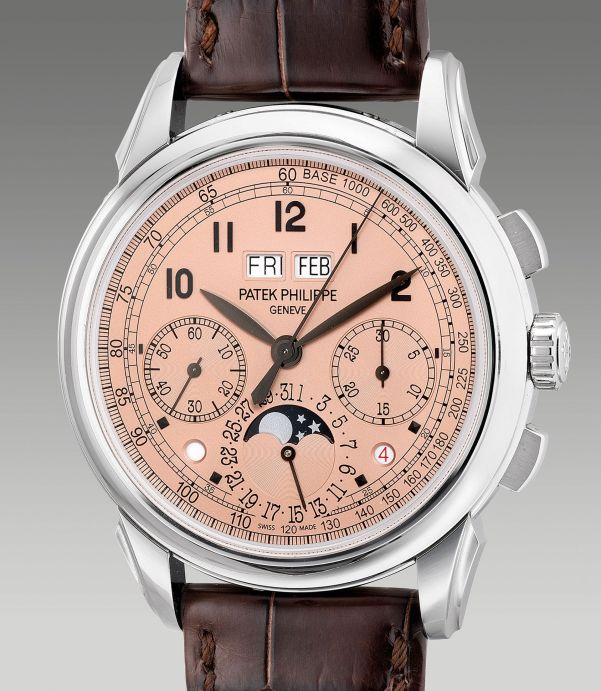 "Patek Philippe Reference 5270P-001 from 2019, platinum perpetual calendar chronograph wristwatch with ""salmon"" dial, day and night indication, moonphases, leap year indication, additional case back. Estimate: HKD 1,100,000-1,600,000"