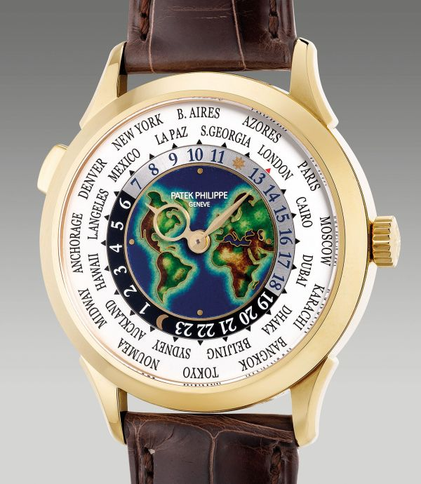"Patek Philippe Reference 5231J-001 from 2019, yellow gold World Time wristwatch with ""cloisonné"" enamel dial. Estimate: HKD 600,000-1,000,000"