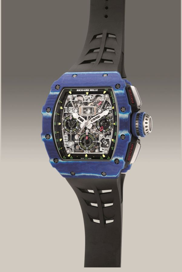 Richard Mille Reference RM11-03 J.Todt from 2018, limited edition blue Quartz TPT and carbon flyback chronograph wristwatch, numbered 46 of a limited edition of 150 pieces. Estimate: HKD 1,500,000-2,800,000