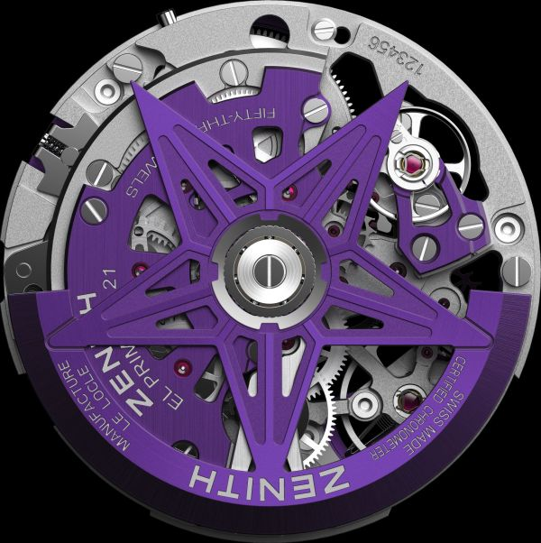 ZENITH DEFY 21 ULTRAVIOLET movement backside