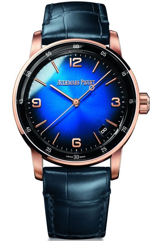 Code 11.59 by Audemars Piguet Self-winding 18-carat pink gold case Smoked blue lacquered dial with sunburst pattern