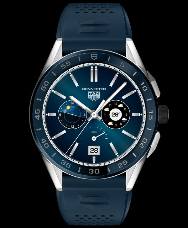 Reference SBG8A11.BT6220: TAG Heuer Connected 45 mm, steel case, blue rubber strap