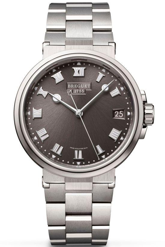 Breguet Marine 5517, REF. 5517TI/G2/TZ0 (Titanium Case, Sunburst slate-gray dial and Titanium Bracelet)