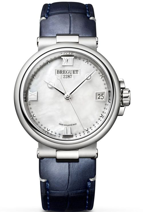 Model: Breguet Marine Dame 9517, Ref. 9517ST/5W/984 (Steel Case, White mother-of-pearl Dial and Leather strap)