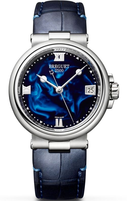 Model: Breguet Marine Dame 9517, Reference 9517ST/E2/984 (Steel Case, Blue Lacquer Dial and Leather strap)