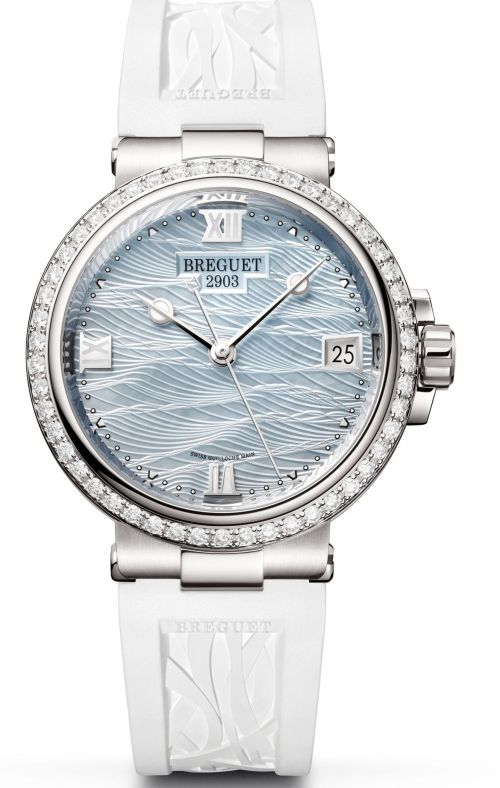 Model: Breguet Marine Dame 9518 Reference 9518BB/V2/584 D000(18 Carat White-Gold Case, Pale-blue mother-of-pearl engine-turned dial and Rubber strap)