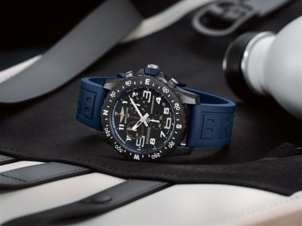 Breitling Endurance Pro with a blue inner bezel and rubber strap