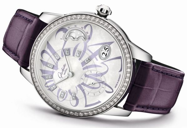 Glashütte Original PanoMatic Luna Limited Edition with Diamond-set Bezel and White Mother-Of-Pearl Dial with Lilac Colored Numerals