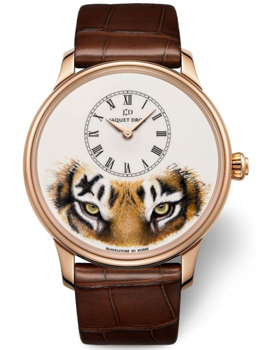 Jaquet Droz Petite Heure Minute Tiger 18-karat red gold case with Ivory Grand Feu enamel dial with miniature painting