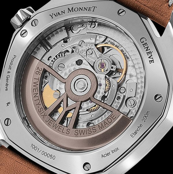 Yvan Monnet FIVE watch with Galvanic copper brown dial