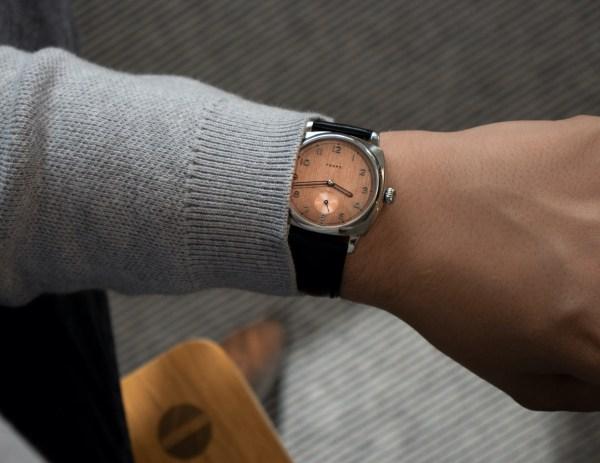 Fears Brunswick - Copper Salmon dial on a Bristol Black Bristol Leather strap - On wrist