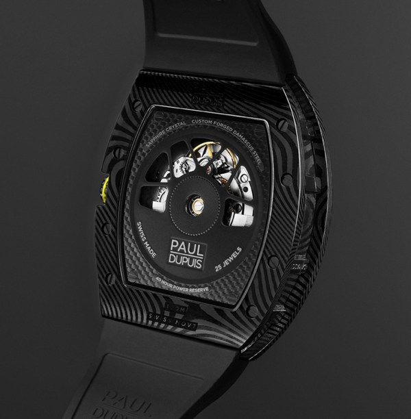 The Paul Dupuis DMS|001 watch with Gunmetal Black Damascus Steel Case