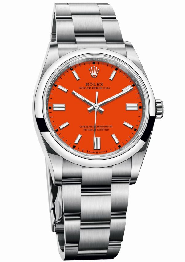 Rolex Oyster Perpetual 36 with Coral red lacquer dial