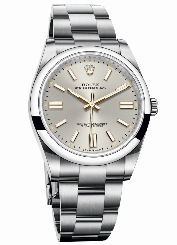 Rolex Oyster perpetual 41 with Silver, gloss, sunray finished dial