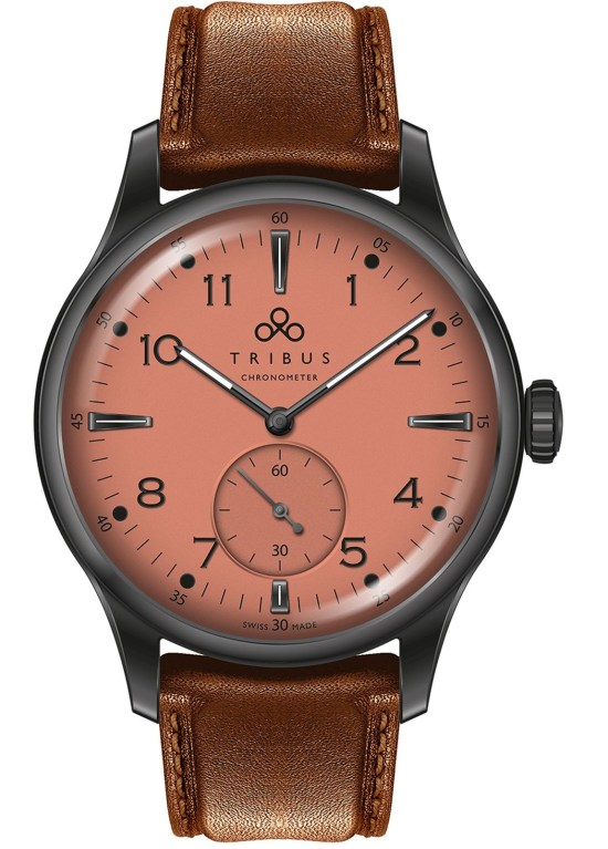TRIBUS TRI-01 Small Second COSC watch with salmon dial