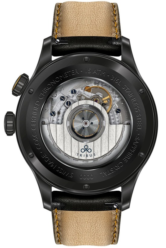 TRIBUS TRI-02 GMT 3 Timezone COSC watch black dlc model caseback view
