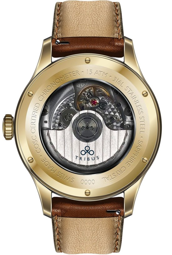 TRIBUS TRI-03 Power Reserve GMT COSC rose gold pvd model case back view