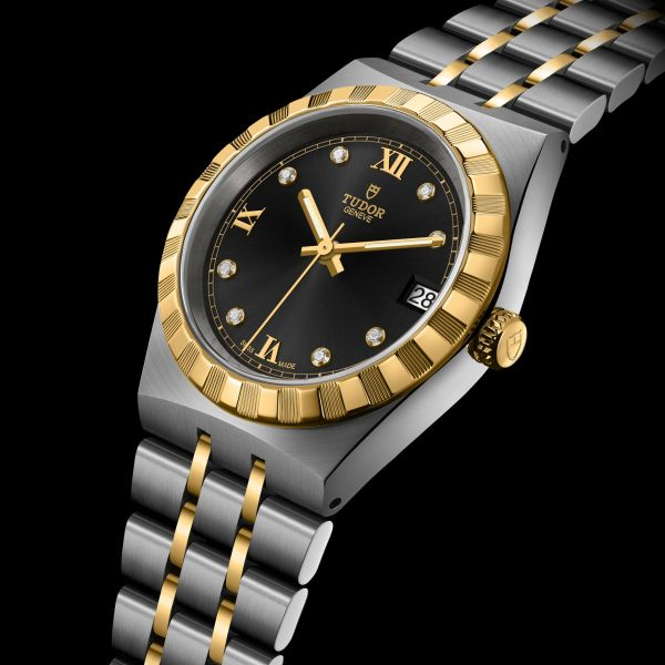 TUDOR ROYAL 34mm, Ref. M28403-0005: Stainless steel case, yellow gold bezel, steel and yellow gold bracelet, Black dial with diamond hour markers + Roman Numerals for 6, 9 and 12