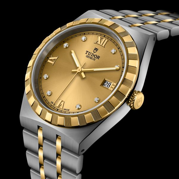 TUDOR ROYAL 38mm, M28503-0005: Stainless steel case, yellow gold bezel, steel and yellow gold bracelet, Champagne-colour dial with diamond hour markers + Roman Numerals for 6, 9 and 12