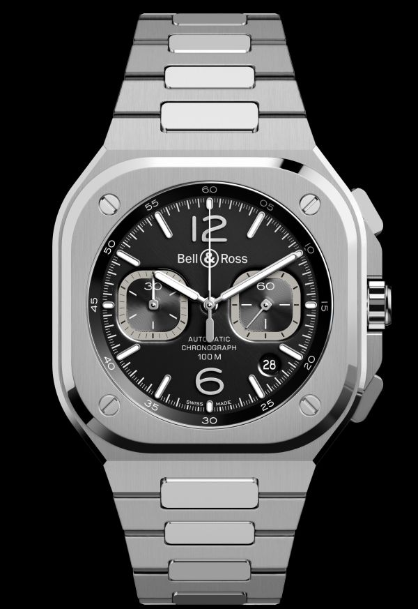Bell & Ross BR 05 Chronograph new model 2020 black dial and integrated stainless steel bracelet