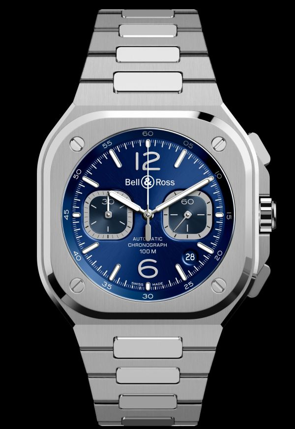 Bell & Ross BR 05 Chronograph new model 2020 blue dial and stainless steel integrated bracelet