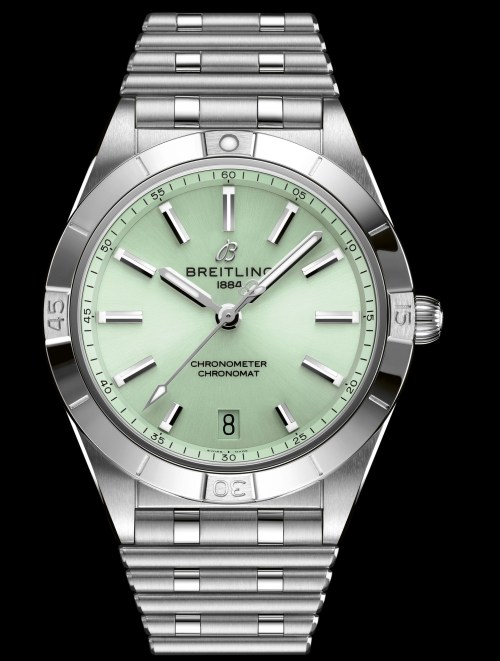 Breitling chronomat-automatic-36-in-stainless-steel-with-a-pale-green-dial_ref.-a10380101l1a1
