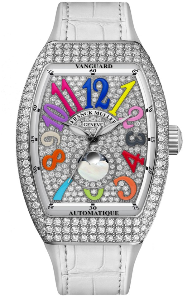 Franck Muller Vanguard™ Lady Moonphase white gold case and dial set with diamonds
