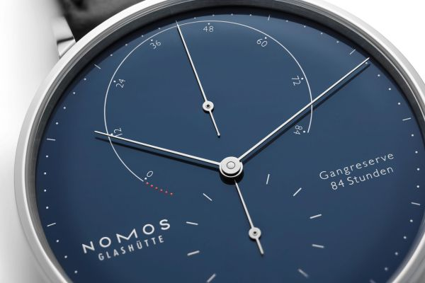 NOMOS Glashütte Lambda in Stainless Steel Limited Edition watch blue dial power reserve indicator