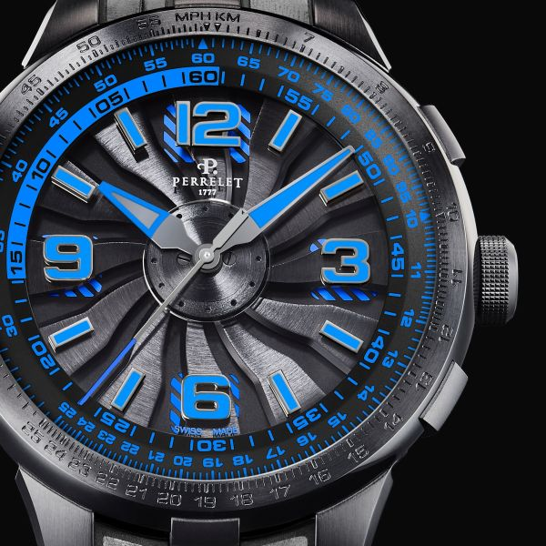 Perrelet Turbine Pilot New Version 2020 - Black under-dial with electric blue stripes