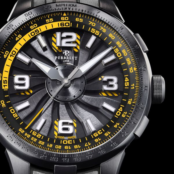Perrelet Turbine Pilot New Version 2020 - Black under-dial with yellow stripes