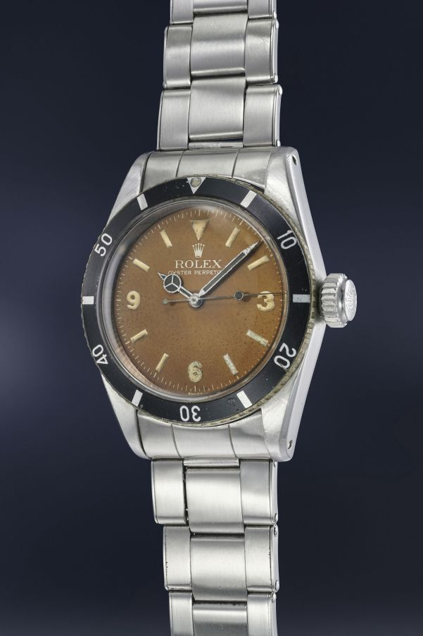 "Rolex Reference 6200 ""Big Crown"" with chocolate ""tropical dial"" (estimate CHF 400,000-800,000)"