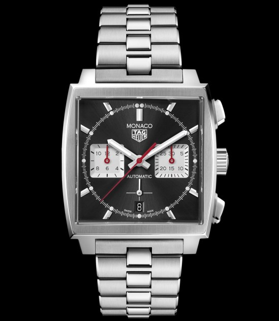 Tag Heuer Monaco Chronograph 39 mm Calibre Heuer 02 Automatic with black dial and stainless steel bracelet