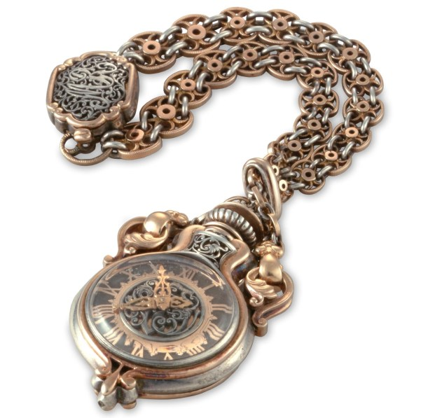 Vacheron Constantin Silver and red gold pomander-shaped ladies' chain-bracelet wristwatch – 1885