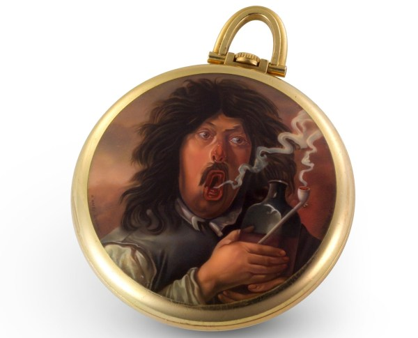 Vacheron Constantin Yellow gold pocket watch, caseback adorned with an enamel miniature reproducing The Smoker by Adriaen Brouwer – 1964