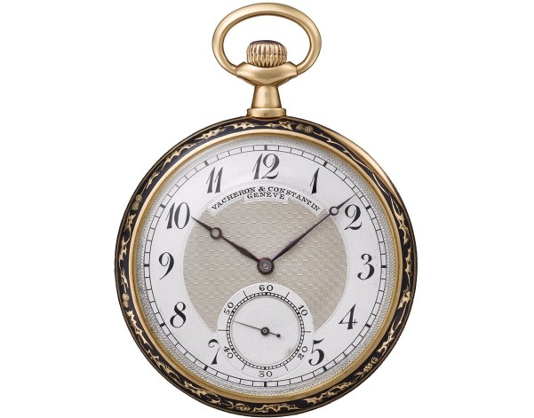 Vacheron Constantin Yellow gold pocket watch, cloisonné enamel case-back in Art Nouveau style, silver dial – 1905