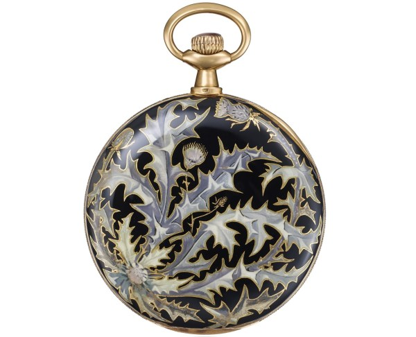Vacheron Constantin Yellow gold pocket watch, cloisonné enamel case-back in Art Nouveau style, silver dial – 1905