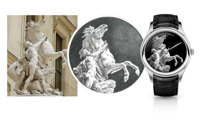 Example of a creation that can be done in grisaille enamel, inspired by Guillaume Coustou's sculpture of the Horse Restrained by a Groom, called Horse of Marly.