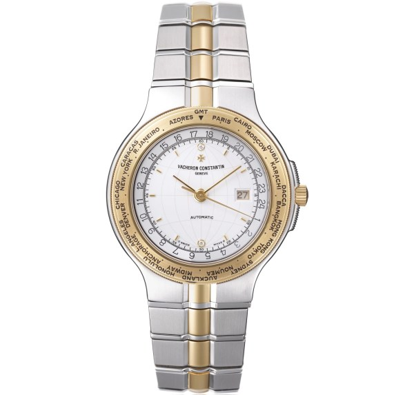 Vacheron Constantin Phidias GMT World Time watch in gold and stainless steel, white dial with central seconds and date, diamond hour-markers –1995