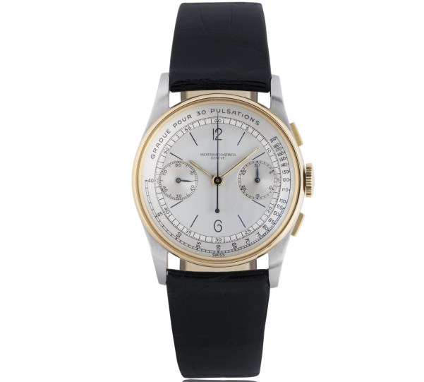 Vacheron Constantin Pulsimeter chronograph Reference 4072 in gold and steel, silver-toned dial with small seconds and 30-minute chronograph counter –1944