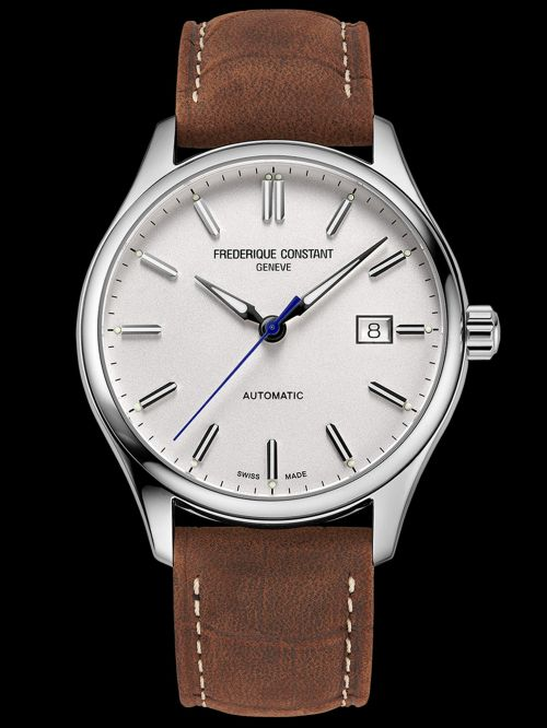 Frederique Constant Classics Index Automatic watch Silver dial brown leather strap Reference FC-303NS5B6