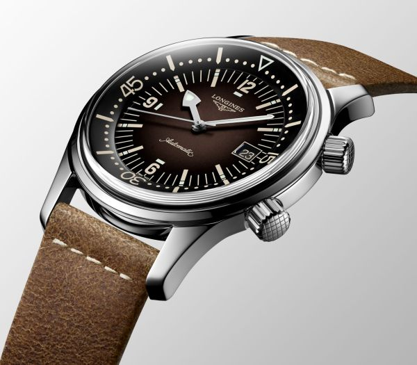Longines Legend Diver Watch, New Versions with Blue or Brown Lacquered Graduated Dials