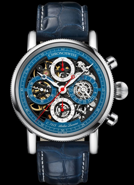 Chronoswiss Opus Chronograph Flag Reference: CH-7543.1S-BLSI (Stainless steel, galvanic blue and silver dial, skeletonised)