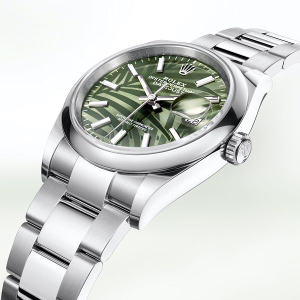 Rolex Oyster Perpetual Datejust 36 Oystersteel Case version Olive green palm motif dial